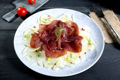 Bresaola carpaccio with fennel Royalty Free Stock Photos