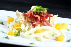 Bresaola carpaccio with fennel Royalty Free Stock Photo