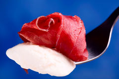 Bresaola and mozzarella cheese Royalty Free Stock Photos