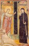 BRESCIA, ΙΤΑΛΙΑ - 22 ΜΑΐΟΥ 2016: Η νωπογραφία Annunciation στην εκκλησία Chiesa Di SAN Francesco δ ` Assisi από 14 σεντ Στοκ Φωτογραφίες