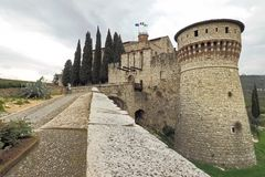 Brescia castle tower. Brescia castle walls and tower, Lombardy, Italy Royalty Free Stock Images