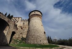 Brescia castle tower. Brescia castle walls and tower, Lombardy, Italy Royalty Free Stock Image