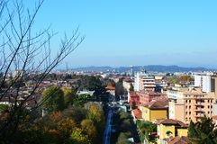 Brescia city street view from above Royalty Free Stock Image