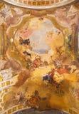 Brescia - fresco of Apotheosis of saints Faustino, Giovita, Benedict and Scolastica  in church Chiesa di San Faustino e Giovita Royalty Free Stock Photos