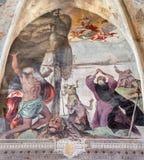 Brescia - freskomålning från liv av St Jerome, Francis, Mary av Magdalen, Anthony och Paul Royaltyfri Fotografi