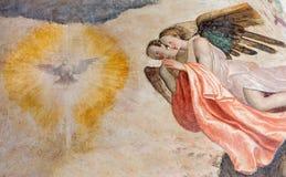 Brescia - freskomålningen av adorating för änglar av den heliga anden i kyrkliga Chiesa del Santissimo Corpo di Cristo Arkivfoto