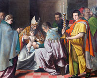 BRESCIA, ITALIË: Besnijdenis van weinig verf van Jesus in kerkchiesa del Santissimo Corpo Di Cristo door onbekende kunstenaar Royalty-vrije Stock Foto's