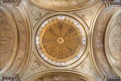 BRESCIA, ITALIË, 2016: De monochromatische fresko in koepel van Di Santa Maria della Pace van kerkchiesa door Francesco Monti Royalty-vrije Stock Foto