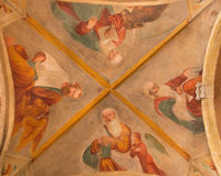 BRESCIA, ITALIË, 2016: De plafondfresko van Vier Evangelisten in Chiesa Di San Pietro in Olvieto & x28; St Barbara chapel& x29; Stock Foto's