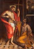 BRESCIA, ITALIË, 2016: Het schilderen de Twijfel van St Thomas in kerk Chiesa Di San Faustino e Giovita door onbekende kunstenaar royalty-vrije illustratie