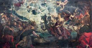 BRESCIA, ITALIË, 2016: Het schilderen van Apocalyptische visie de zitting van courtisanebabylon op de draak Stock Afbeeldingen