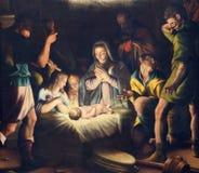 BRESCIA, ITALIË, 2016: Het schilderen van Geboorte van Christus in kerkchiesa del Santissimo Corpo Di Cristo door Pier Maria Bagn royalty-vrije stock foto's