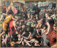 BRESCIA, ITALIË, 2016: Het schilderen van het Verzamelen van de Korf in de Woestijn in kerk Chiesa Di San Giovanni Evangelista Stock Foto's