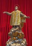 BRESCIA, ITALIË - MEI 22, 2016: Het metaalstandbeeld van Filip Neri in Di Santa Maria della Pace van kerkchiesa Royalty-vrije Stock Afbeelding