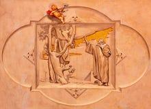 BRESCIA, ITALIA, 2016: El fresco de Cristo que llama Zacchaeus en la iglesia Chiesa di Cristo Re de Vittorio Trainini Imagen de archivo libre de regalías