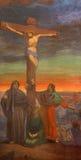 BRESCIA, ITALIA, 2016: El fresco de la crucifixión en los di Christo Re de Chiesa de la iglesia con los frescos de Giuseppe Mozzo stock de ilustración
