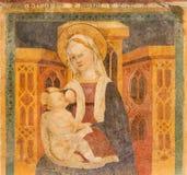 BRESCIA, ITALIA, 2016: El fresco de Madonna y de x28; Madonna del Latte& x29; en los di Santa Maria della Carita de Chiesa de la  Imagen de archivo libre de regalías