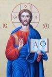 BRESCIA, ITALIA, 2016: El icono de Jesus Christ el Pantokrator en el presbiterio de los di Angela Merici de Chiesa de la iglesia Foto de archivo