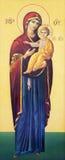 BRESCIA, ITALIA, 2016: El icono de Madonna en el presbiterio de los di Angela Merici de Chiesa de la iglesia Imagen de archivo