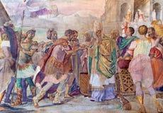 BRESCIA, ITALIA, 2016: El rey David Receiving del fresco el pan santo de Ahimelech el sacerdote ilustración del vector
