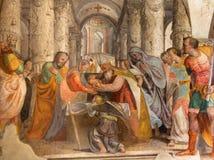 BRESCIA, ITALIA: Fresco doce viejo Jesús en el templo cerca por Lattanzio Gambara en los di Cristo de Chiesa del Santissimo Corpo Imágenes de archivo libres de regalías