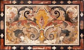 BRESCIA, ITALIA, 2016: Il mosaico di pietra sull'altare laterale in chiesa Chiesa di San Giuseppe Fotografia Stock