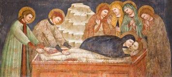 BRESCIA, ITALIA, 2016: L'affresco gotico della sepoltura di Gesù nel d& x27 di Chiesa di San Francesco della chiesa; Assisi dall' royalty illustrazione gratis