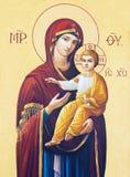 BRESCIA, ITALIA, 2016: L'icona di Madonna in presbiterio dei Di Angela Merici di Chiesa della chiesa Fotografia Stock Libera da Diritti