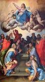 BRESCIA, ITALIA, 2016: La pintura de la suposición en la iglesia Chiesa di San Giovanni Evangelista de Bartolomeo Paserrotti Imágenes de archivo libres de regalías