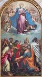 BRESCIA, ITALIA, 2016: La pittura del presupposto di vergine Maria in dei Miracoli di Santa Maria dei Di di Chiesa della chiesa fotografia stock libera da diritti