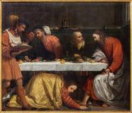 BRESCIA, ITALIA, 2016: La pittura della cena nella casa di Simon il pharisee Fotografia Stock