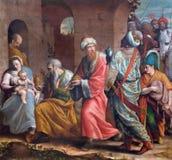 BRESCIA, ITALIA, 2016: La pittura di tre Re Magi in Di Cristo di Chiesa del Santissimo Corpo della chiesa dai artis sconosciuti d Fotografia Stock