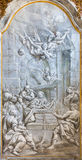 BRESCIA, ITALIE, 2016 : Le fresque monochromatique de la nativité en Di Santa Maria del Carmine de Chiesa d'église Photos libres de droits