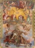 BRESCIA, ITALIEN, 2016: Das Fresko der Annahme von Jungfrau Maria auf den Wölbung ofn-Kirche Chiesa-Di Santa Maria del Carmine lizenzfreies stockfoto