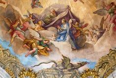 BRESCIA, ITALIEN, 2016: Der Fresko Ruhm der Jungfrau auf Kuppel von d& x27 Kirche Chiesa di San Francesco; Assisi durch Giovanni  lizenzfreie stockfotos
