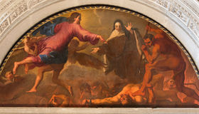 BRESCIA ITALIEN, 2016: Det måla Stet Theresa av Avila& x27; s-vision av helvete i Chiesa di San Pietro i Olvieto Arkivfoton