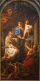 BRESCIA, ITALIEN, 2016: Die Malerei von Madonna mit dem Kind und dem Johannes das Nepomuk Stockbild