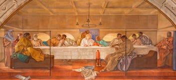 BRESCIA ITALIEN, 2016: Freskomålningen av den sista kvällsmålet i kyrkliga Chiesa di Christo Re vid Vittorio Trainini & x28; 1936 Royaltyfria Foton