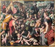 BRESCIA ITALIEN, 2016: Målningen av att samla mannan i öknen i kyrkliga Chiesa di San Giovanni Evangelista Arkivfoton