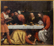 BRESCIA ITALIEN, 2016: Målningen av kvällsmålet i huset av simon phariseen arkivfoto