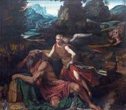 BRESCIA ITALIEN, 2016: Målningprofeten Elijah Receiving Bread och vatten från en ängel Royaltyfri Fotografi