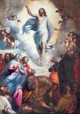 BRESCIA ITALIEN, 2016: Målninguppstigningen av Herren i kyrkliga Chiesa di Santa Maria del Carmine stock illustrationer