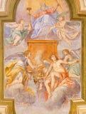 BRESCIA ITALIEN - MAJ 21, 2016: Den centrala freskomålningen för tak fadern av evighet i kyrkliga Chiesa di San Giorgio av Ottavi Royaltyfri Bild