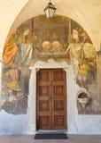 BRESCIA ITALIEN - MAJ 21, 2016: Freskomålningen av den sista kvällsmålet i hjärtförmaken av kyrkliga Chiesa del Santissimo Corpo  Arkivbild