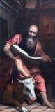 BRESCIA ITALIEN - MAJ 23, 2016: Målningen av St Matthew evangelisten i kyrkliga Chiesa di San Giovanni Evangelista royaltyfria foton