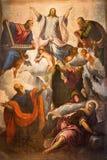 BRESCIA ITALIEN, 2016: Omgestaltningen av av Herremålningen i kyrkliga Chiesa di Angela Merici vid Tintoretto Royaltyfria Bilder