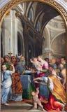 BRESCIA ITALIEN, 2016: Presentationen av jungfruliga Mary i templet i den kyrkliga Chiesa diSanta Maria deien Miracoli Royaltyfria Foton
