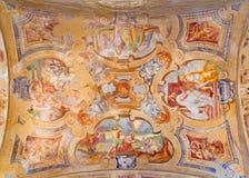 BRESCIA ITALIEN, 2016: Takfrescoesna från liv av St Peter och Paul i kyrkliga Chiesa di Santa Maria del Carmine Royaltyfria Bilder