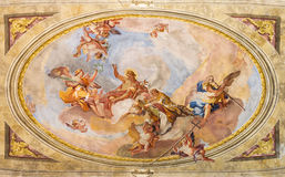 BRESCIA, ITALY, 2016: The Apotheosis of St. John the Baptist fresco on the vault in Sant'Afra church. BRESCIA, ITALY - MAY 23, 2016: The Apotheosis of St. John Stock Photos