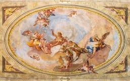 BRESCIA, ITALY, 2016: The Apotheosis of St. John the Baptist fresco on the vault in Sant'Afra church Stock Photos